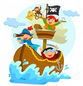 picture of sail ship  - three happy pirates sailing in their ship - JPG