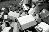 picture of landfills  - piles of old disused gas counters in a special waste landfill