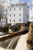 picture of water-mill  - The Mansfield Roller Mill a grist mill powered by the flowing waters of Indiana - JPG