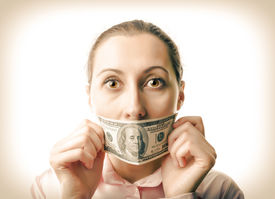 picture of lobbyist  - Woman with one hundred dollar bill at the mouth - JPG