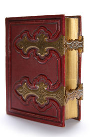 picture of vintage antique book  - Old dark red antique book with golden clasp and pages - JPG