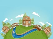 stock photo of log cabin  - Illustration Featuring a Village Full of Log Cabins - JPG