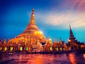 image of yangon  - Vintage retro effect filtered hipster style image of Myanmer famous sacred place and tourist attraction landmark  - JPG