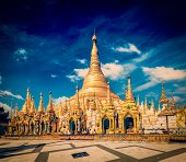 picture of yangon  - Vintage retro effect filtered hipster style image of Myanmer famous sacred place and tourist attraction landmark  - JPG