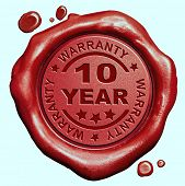 image of credential  - 10 Year warranty quality label guaranteed product red wax seal stamp  - JPG