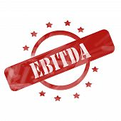 image of amortization  - A red ink weathered roughed up circle and stars stamp design with the word EBITDA on it making a great concept - JPG