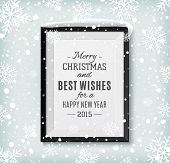 picture of merry  - Merry Christmas and Happy New Year text label on a picture frame with snow and snowflakes - JPG