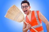 stock photo of janitor  - Funny janitor isolated on white - JPG