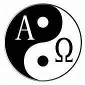 pic of revelation  - Yin and Yang and Alpha Omega combined over white - JPG