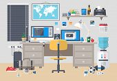 picture of programmers  - Flat modern design vector illustration concept of creative office room interior workspace - JPG