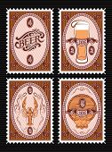 picture of keg  - vector set of vector postage stamps with glass of beer keg lobster - JPG
