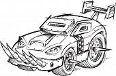 stock photo of armored car  - Armored Car Vehicle Sketch Vector Illustration Art - JPG