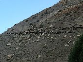 stock photo of mustang  - A large herd of goats on a Himalayan mountain in the Annapurna region of Mustang Nepal during monsoon - JPG