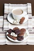 picture of biscuits  - cup of coffee with chocolate biscuits - JPG