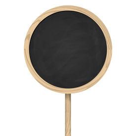 foto of peg-leg  - round Black board Standing On Wooden Post - JPG