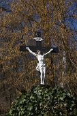 stock photo of crucifix  - Wooden shrine  - JPG
