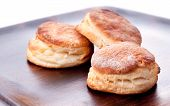 foto of buttermilk  - home made buttermilk biscuits on a wooden board - JPG