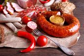 stock photo of deli  - Assortment of deli meats on parchment - JPG