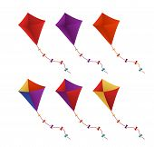 stock photo of kites  - Colorful Flying Kites Set in White Background - JPG