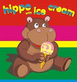stock photo of hippopotamus  - vector illustration of a hippopotamus with ice cream - JPG