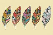 foto of feathers  - Collection of vintage tribal ethnic hand drawn colorful feathers vector illustration - JPG