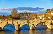 stock photo of orbs  - The Pont Vieux a bridge over the Orb in Beziers France - JPG