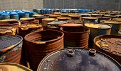 foto of toxic substance  - Several barrels of toxic waste at the dump - JPG