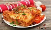 stock photo of lasagna  - Portion of tasty lasagna - JPG