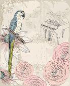 stock photo of parrots  - Retro background - JPG
