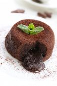 picture of hot-chocolate  - Hot chocolate pudding with fondant centre on plate - JPG