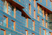 picture of mirror  - A modern building mirror facade in blue tone - JPG