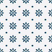 foto of indigo  - Hand drawn seamless blue and white indigo pattern - JPG