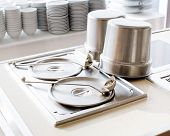 stock photo of chafing  - closeup of chafing dishes at a party - JPG