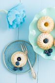 pic of cake stand  - Mini bundt cakes with icing sugar on a cake stand with blueberries and a paper flower - JPG