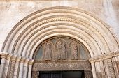 stock photo of building relief  - Bas relief with sculpted Biblical motifs on a church - JPG