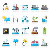 image of electricity  - Electricity and Energy source icons  - JPG
