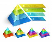 picture of pyramid shape  - Vector pyramid chart isometric 3d templates with options for infographics and presentations - JPG