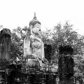 stock photo of gautama buddha  - Buddha Statue in Wat Mahathat Temple in Sukhothai Historical park at sunrise Thailand - JPG