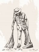 picture of janitor  - Sketch of janitor Hand drawn Vector illustration - JPG