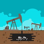 stock photo of oil well  - Oil well drilling with fossil underground illustration vector - JPG