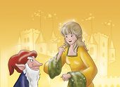 picture of evil  - Evil elf Rumpelstiltskin is talking with a princess - JPG