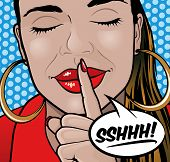 stock photo of silence  - Pop Art Styled Illustration of a Girl putting her forefinger to her lips to indicate silence is required - JPG
