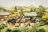 picture of railroad yard  - closeup of a miniature model railway freight yard - JPG