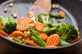 stock photo of breakfast  - fresh vegetables on a frying pan - JPG