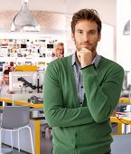 pic of thinking  - Handsome casual caucasian businessman at business office thinking - JPG
