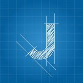 stock photo of letter j  - J letter architectural plan on blue print background - JPG