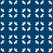 stock photo of indigo  - Indigo and white seamless delft pattern - JPG