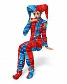 foto of joker  - A young girl dressed as a joker and isolated from the background - JPG