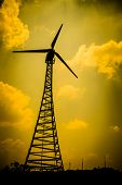 picture of wind-vane  - The wind turbine generator the renewable energy - JPG