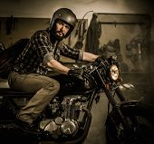 pic of rockabilly  - Rider and his vintage style cafe - JPG